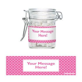 Pink Quatrefoil Personalized Glass Apothecary Jars (12 Count)