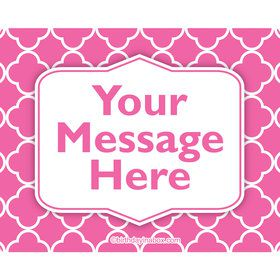 Pink Quatrefoil Personalized Rectangular Stickers (Sheet of 15)