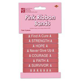 Pink Ribbon Bracelet Bands (8 Pack)