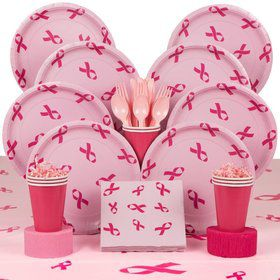 Pink Ribbon Party Deluxe Tableware Kit Serves 8