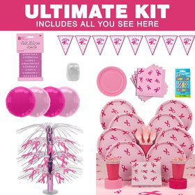 Pink Ribbon Party Ultimate Tableware Kit Serves 8