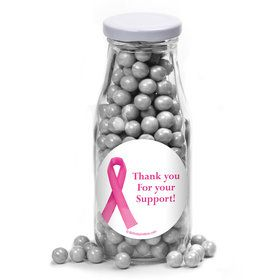 Pink Ribbon Personalized Glass Milk Bottles (10 Count)