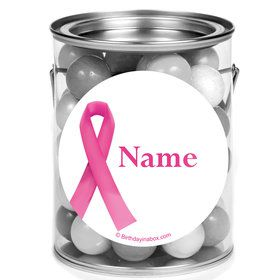 Pink Ribbon Personalized Mini Paint Cans (12 Count)