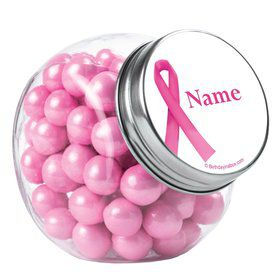 Pink Ribbon Personalized Plain Glass Jars (10 Count)