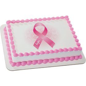 Pink Ribbon Quarter Sheet Edible Cake Topper (Each)