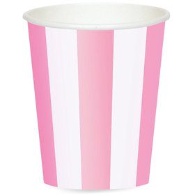 Pink Stripe 12 oz. Paper Cups