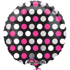 Pink White Dots Foil Balloon