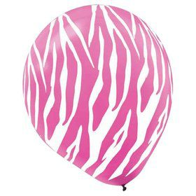 "Pink & White Zebra Print Latex 12"" Balloons (6 Pack)"
