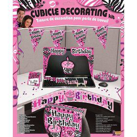 Pink Zebra Birthday Cubicle Decorating Kit (Each)