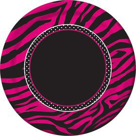 "Pink Zebra Boutique 7"" Lunch Plates (8 Pack)"