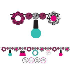 Pink Zebra Boutique Circle Ribbon Banner, W/ Stickers