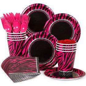 Pink Zebra Boutique Standard Birthday Party Tableware Kit Serves 8