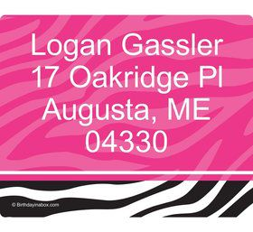 Pink Zebra Grad Personalized Address Labels (Sheet Of 15)