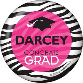Pink Zebra Grad Personalized Button (Each)
