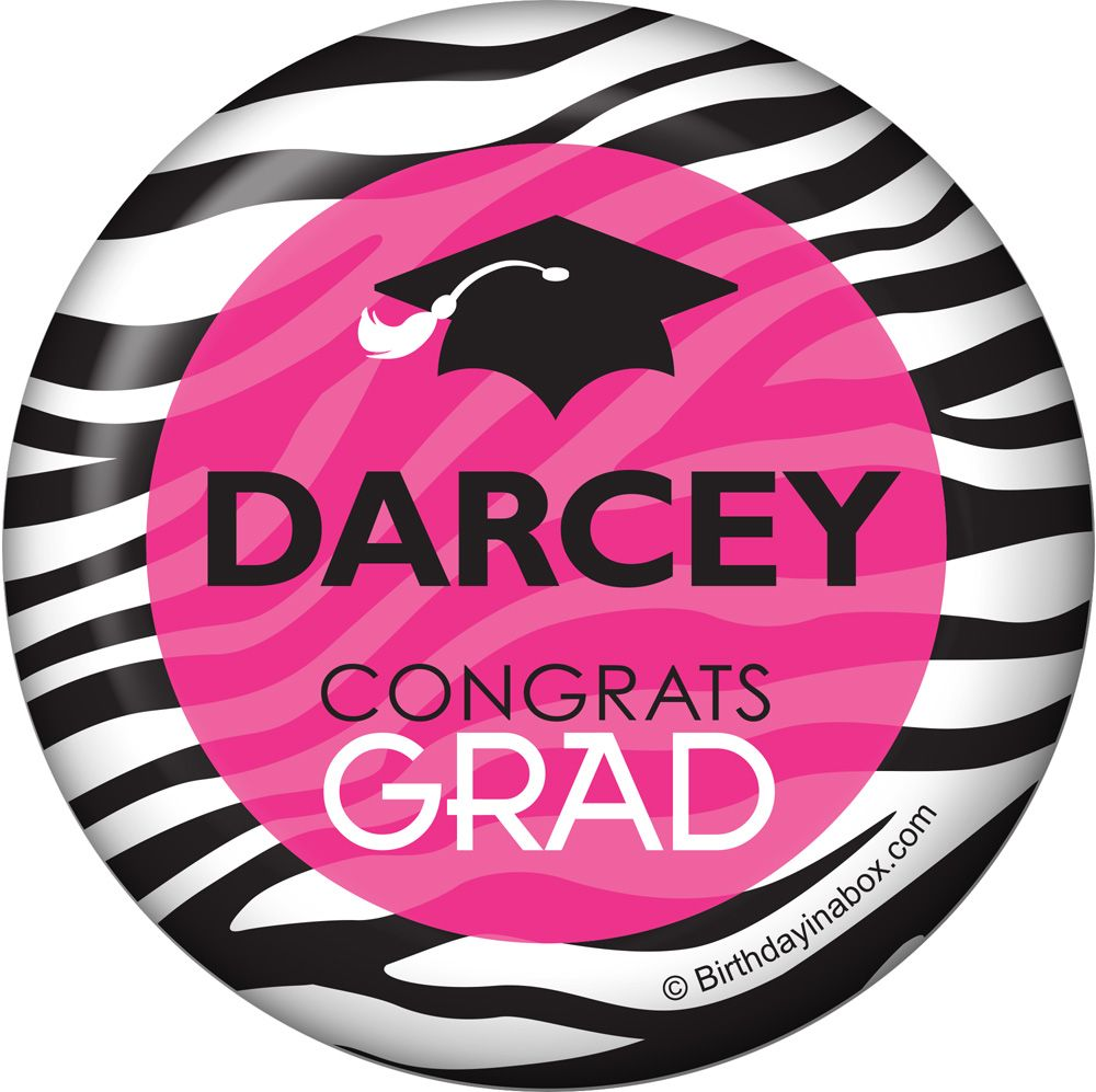 Pink Zebra Grad Personalized Button (Each) - Party Supplies BB1416BT