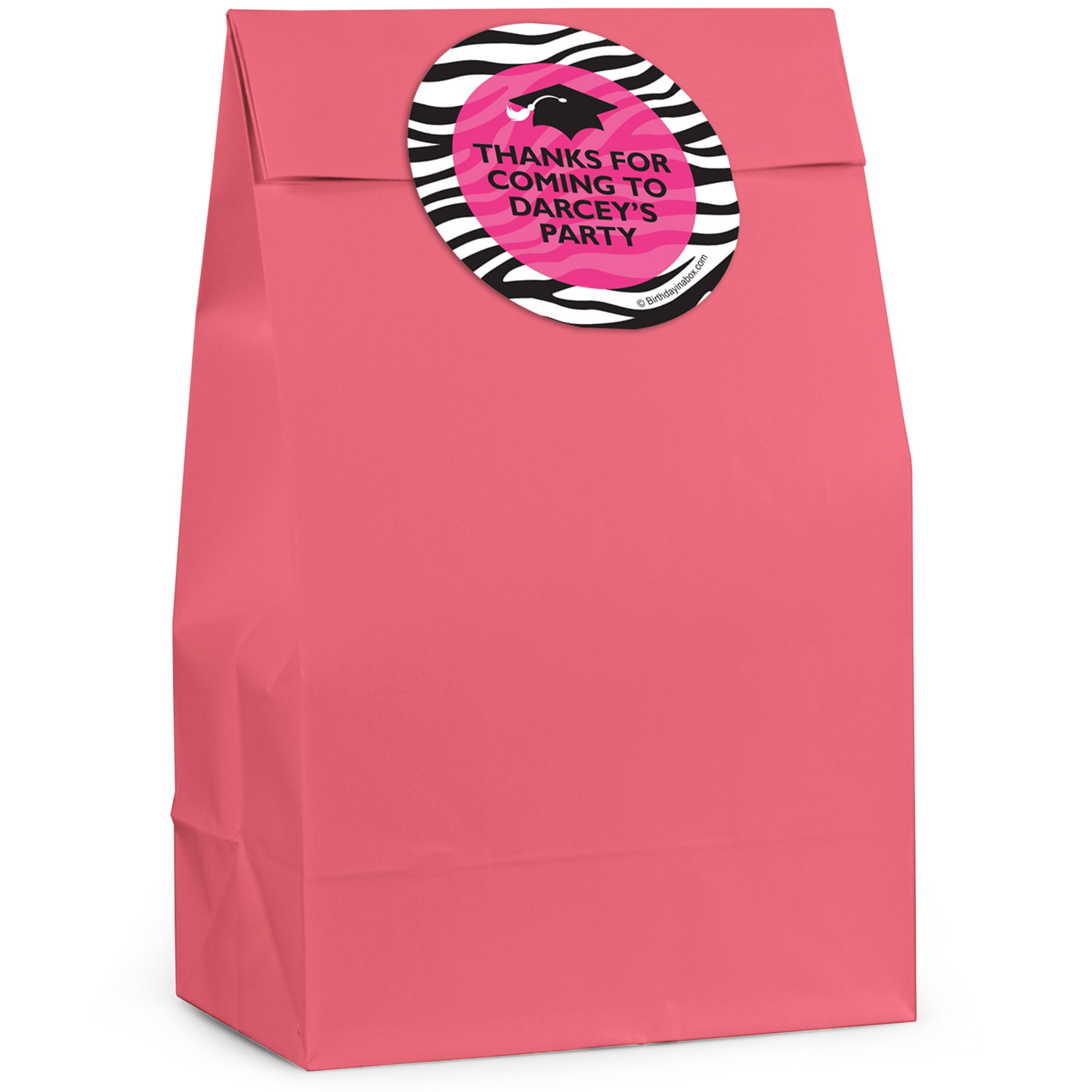 Pink Zebra Grad Personalized Favor Bag (12 Pack) BB324FB