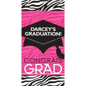 "Pink Zebra Grad Personalized Giant Banner 30X6"" (Each)"