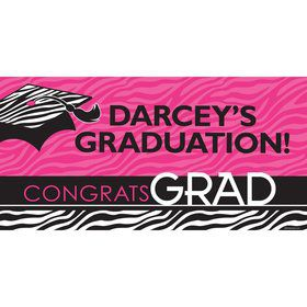 "Pink Zebra Grad Personalized Giant Banner 60X3"" (Each)"