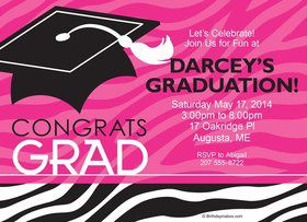 Pink Zebra Grad Personalized Invitation (Each)