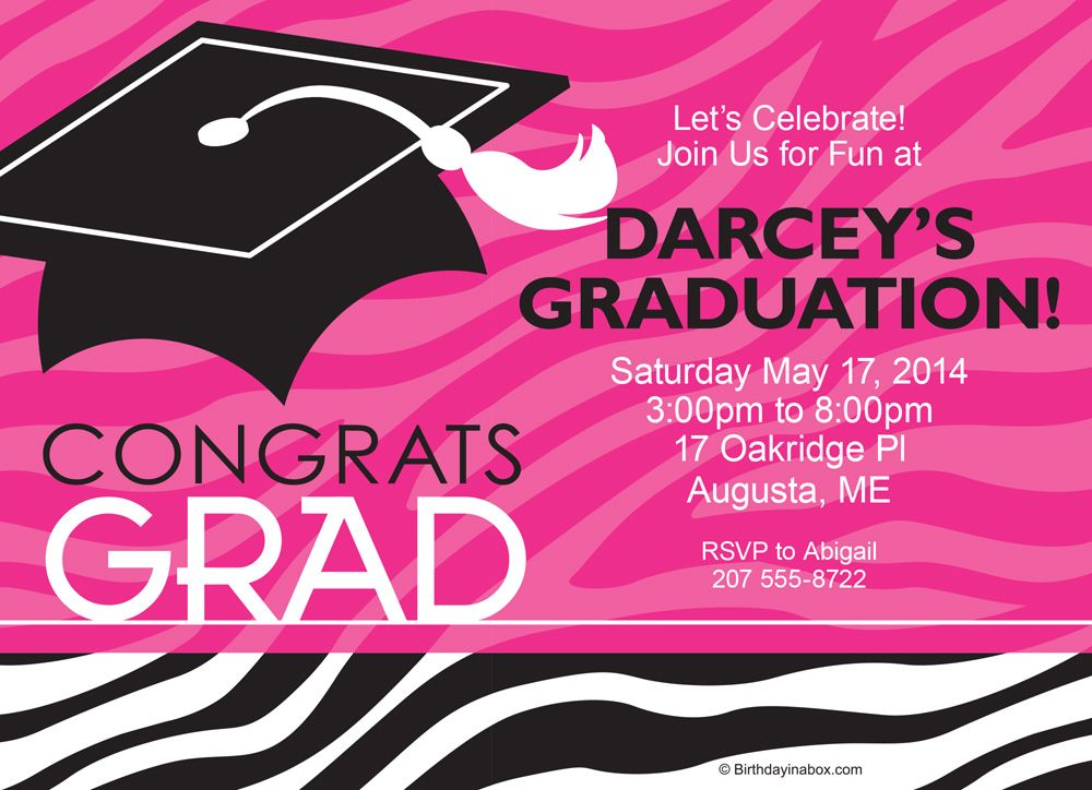 Pink Zebra Grad Personalized Invitation (Each) - Party Supplies BB1416IN
