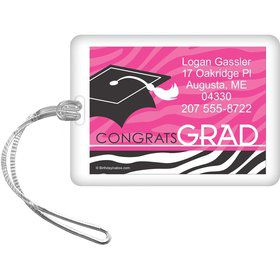 Pink Zebra Grad Personalized Luggage Tag (Each)