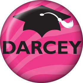Pink Zebra Grad Personalized Mini Button (Each)