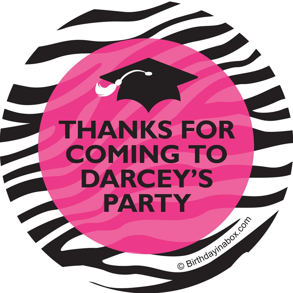 Pink Zebra Grad Personalized Stickers (Sheet Of 12) - Party Supplies BB1416ST
