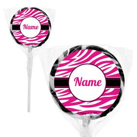 "Pink Zebra Stripes Personalized 2"" Lollipops (20 Pack)"
