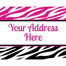 Pink Zebra Stripes Personalized Address Labels (Sheet of 15)