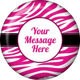 Pink Zebra Stripes Personalized Button (Each)