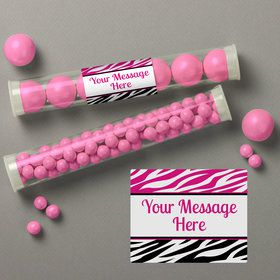 Pink Zebra Stripes Personalized Candy Tubes (12 Count)