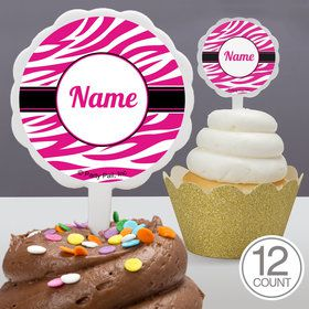 Pink Zebra Stripes Personalized Cupcake Picks (12 Count)