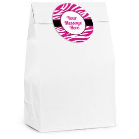 Pink Zebra Stripes Personalized Favor Bag (12 Pack)
