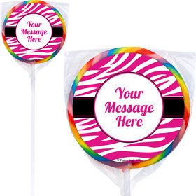 Pink Zebra Stripes Personalized Lollipops (12 Pack)