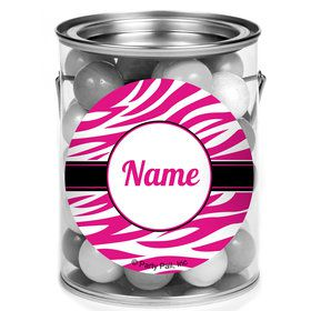 Pink Zebra Stripes Personalized Mini Paint Cans (12 Count)