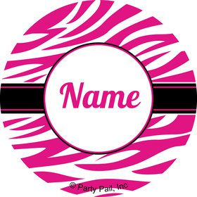 Pink Zebra Stripes Personalized Mini Stickers (Sheet of 24)