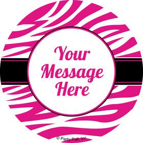 Pink Zebra Stripes Personalized Stickers (Sheet of 12)