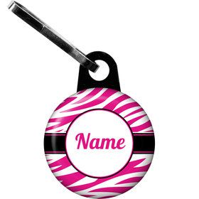 Pink Zebra Stripes Personalized Zipper Pull (Each)