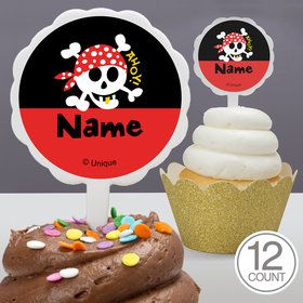 Pirate Birthday Personalized Cupcake Picks (12 Count)
