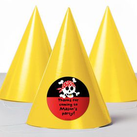 Pirate Birthday Personalized Party Hats (8 Count)