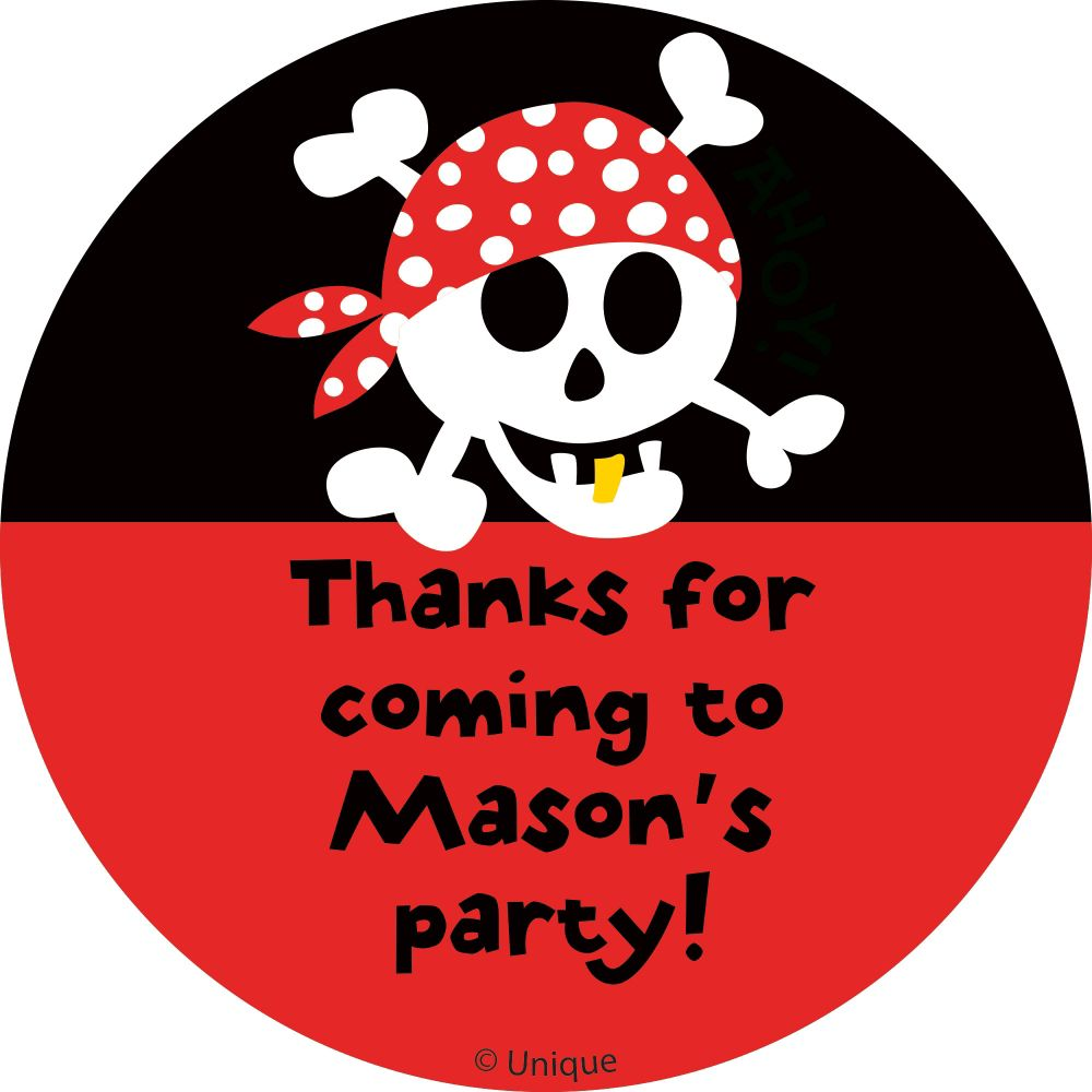 Pirate Birthday Personalized Sticker - Party Supplies BB101881
