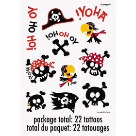 Pirate Birthday Tattoos (2-pack)