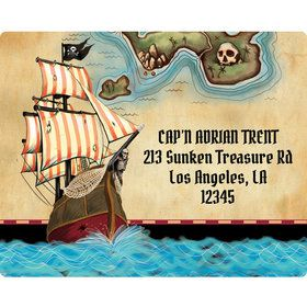 Pirate Map Personalized Address Labels (Sheet of 15)