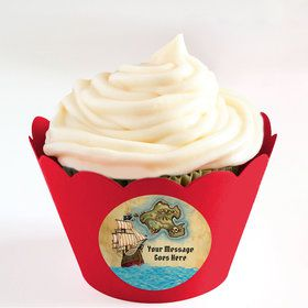Pirate Map Personalized Cupcake Wrappers (Set of 24)