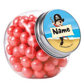 Pirate Personalized Plain Glass Jars (12 Count)