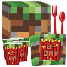 Pixelated Birthday Standard Tableware Kit (Serves 8)