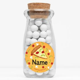 "Pizza Party Personalized 4"" Glass Milk Jars (Set of 12)"