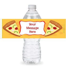 Pizza Party Personalized Bottle Labels (Sheet of 4)