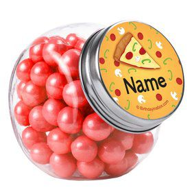 Pizza Party Personalized Plain Glass Jars (12 Count)