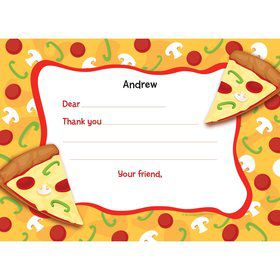 Pizza Party Personalized Thank You Note (each)